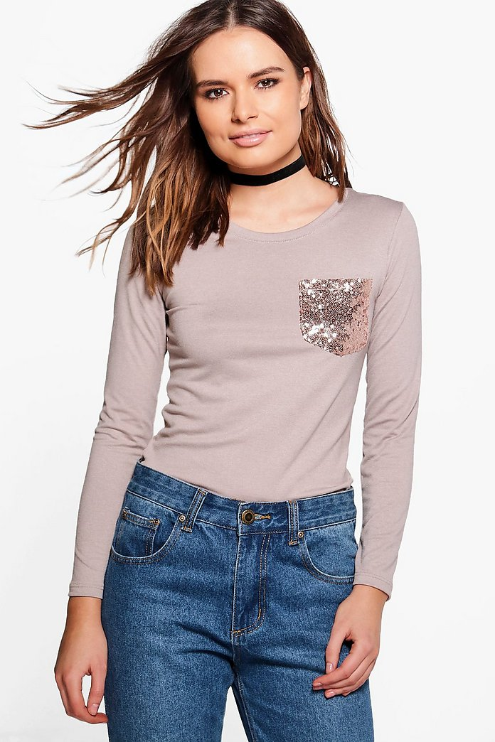 Kristy Sequin Pocket T-Shirt
