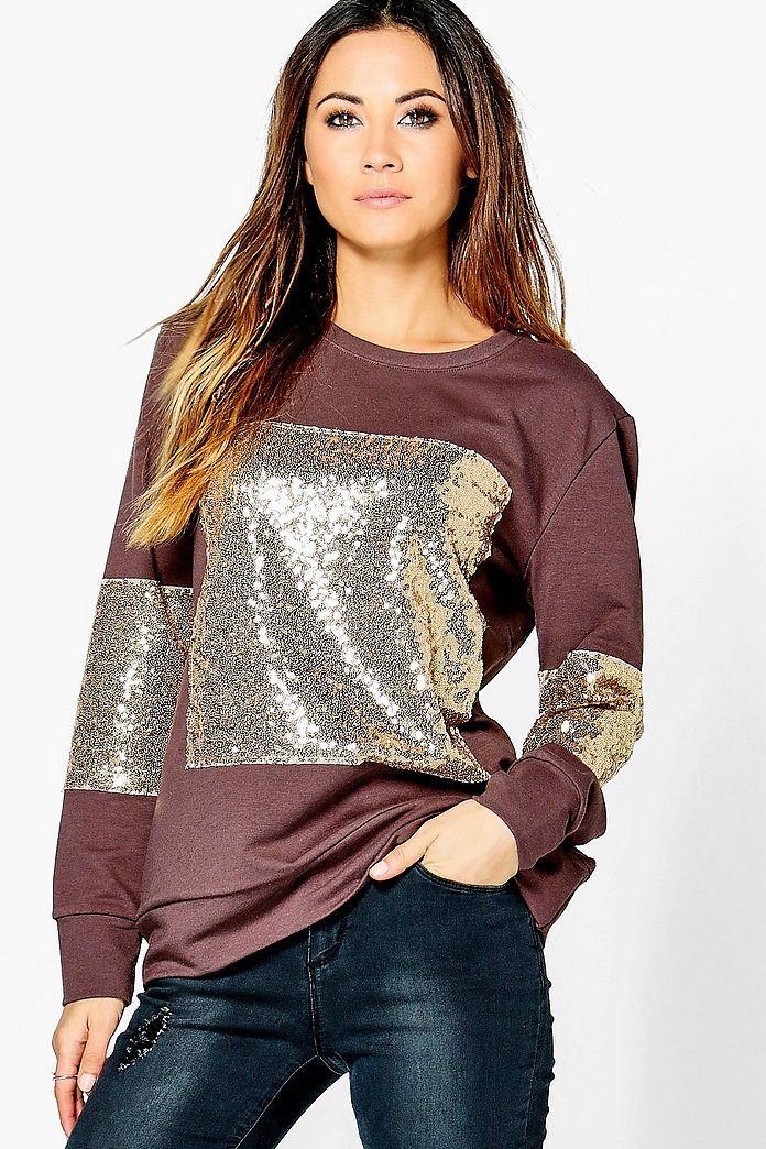 Selina Sequin Panelled Jumper