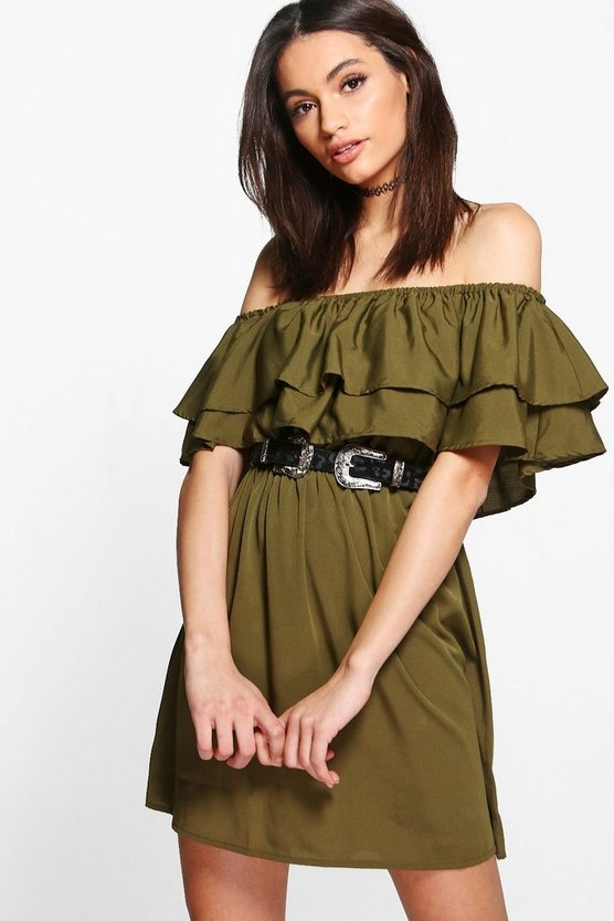 Timi Double Frill Off Shoulder Shift Dress