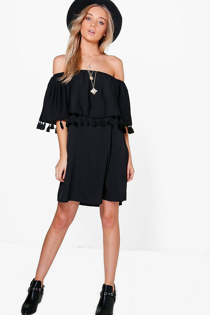 Jess Off Shoulder Pom Pom Shift Dress