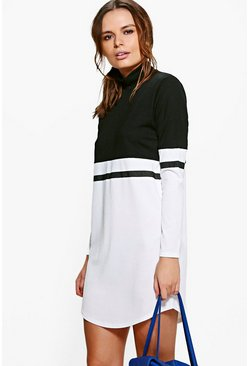 Camille Mono High Neck Colour Block Shift Dress