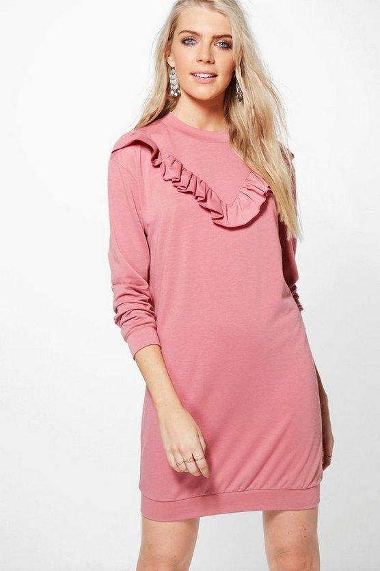 Tabby Ruffle Front Sweat Dress