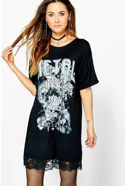 Soph Metal Printed Band lace Trim Tee Dress