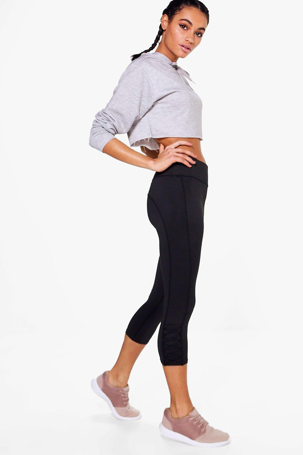 May Fit Criss Cross Capri Running Legging black