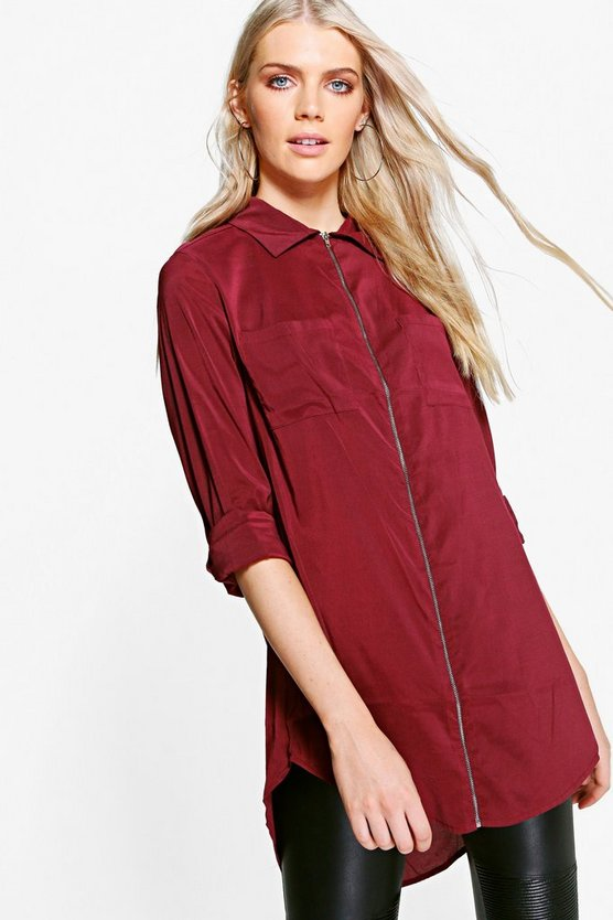 Nicola Zip Through Longline Shirt