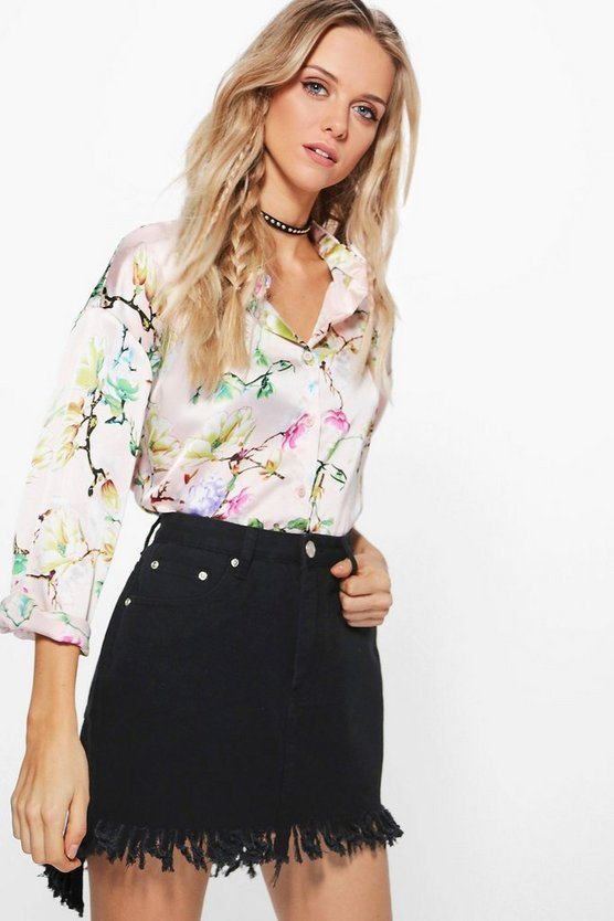 Julie Oriental Oversized Printed Shirt