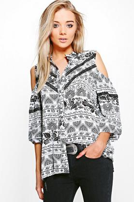Samia Printed Cold Shoulder Shirt