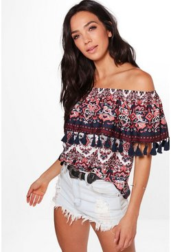Skyler Woven Printed Tassel Hem Off The Shoulder Top