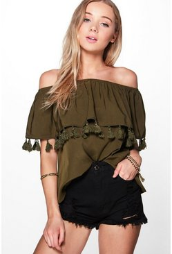 Maria Tassel Hem Woven Off The Shoulder Top