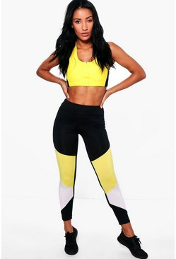 Yasmine Fit Colour Block Running Leggings