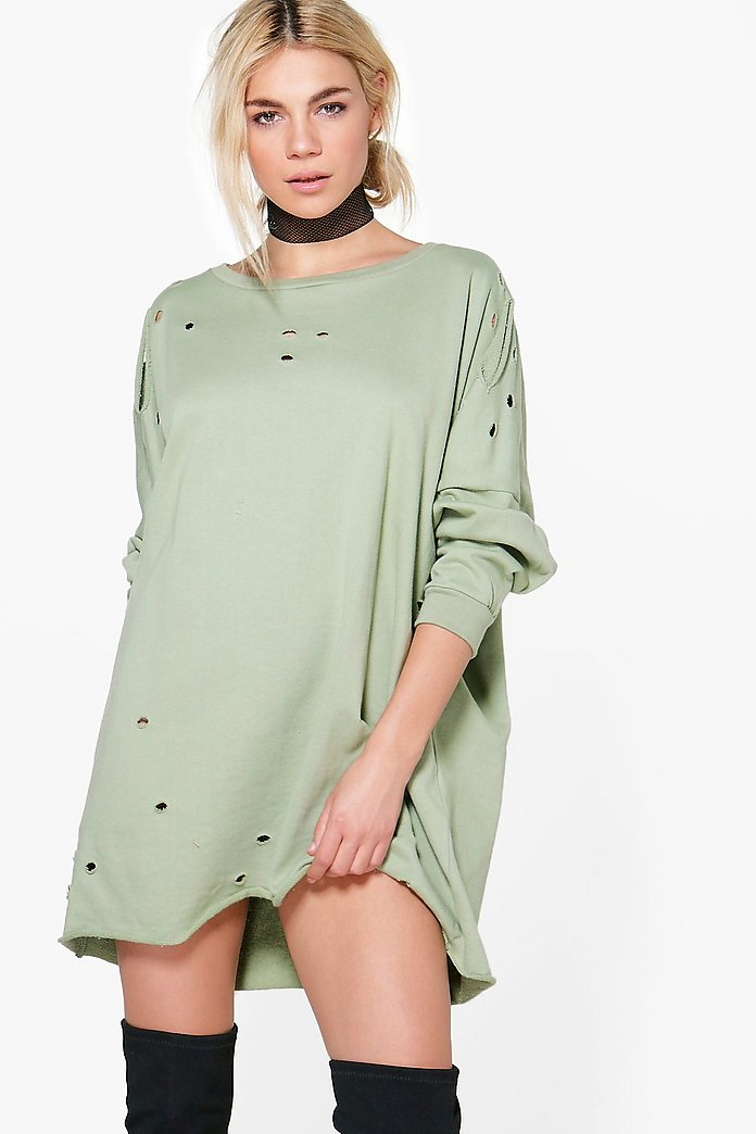 Vicky Distressed Long Sleeve Sweat Dress