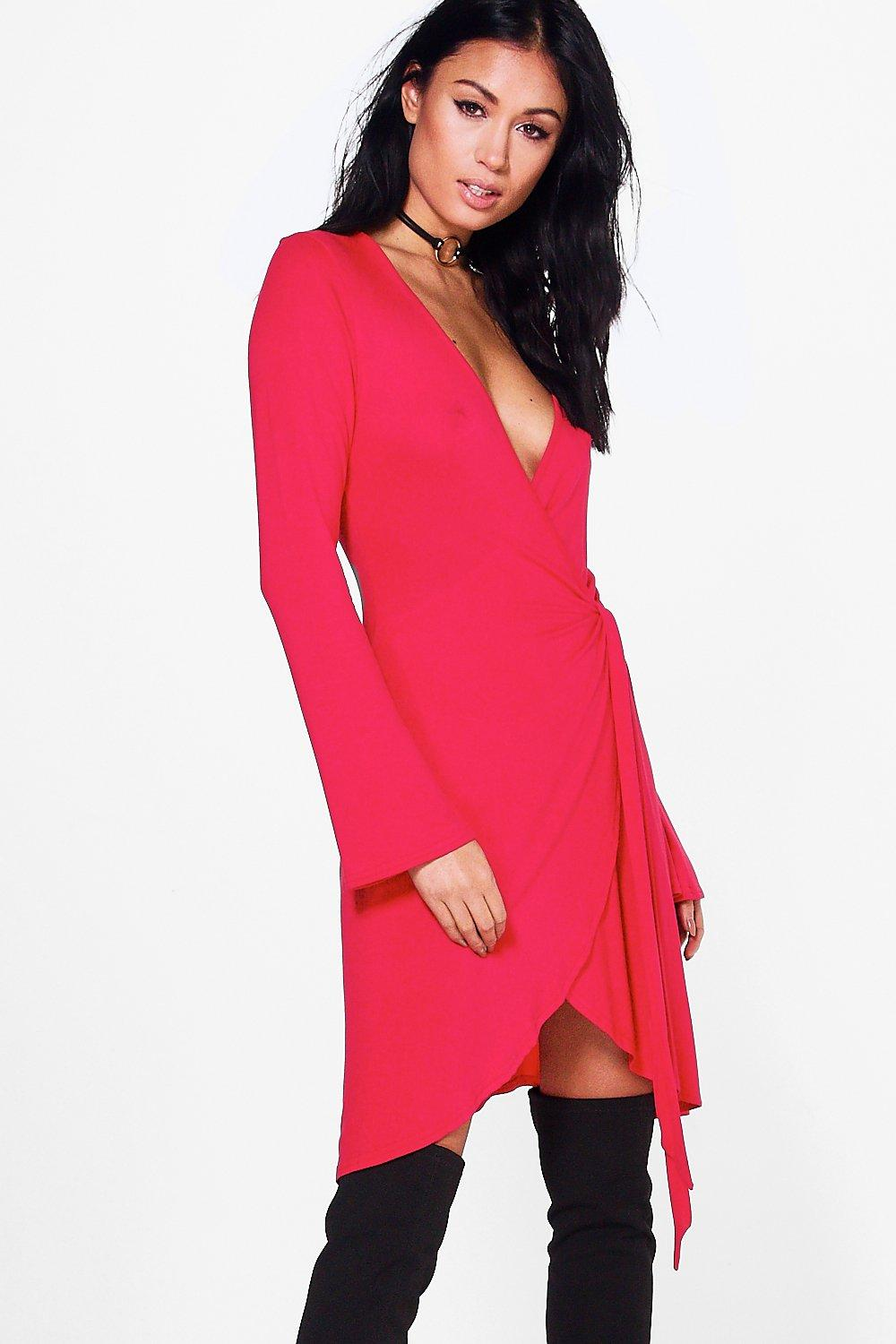 Charlie Long Flare Sleeve Wrap Dress