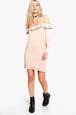 Tanya Ruffle Cold Shoulder Shift Dress