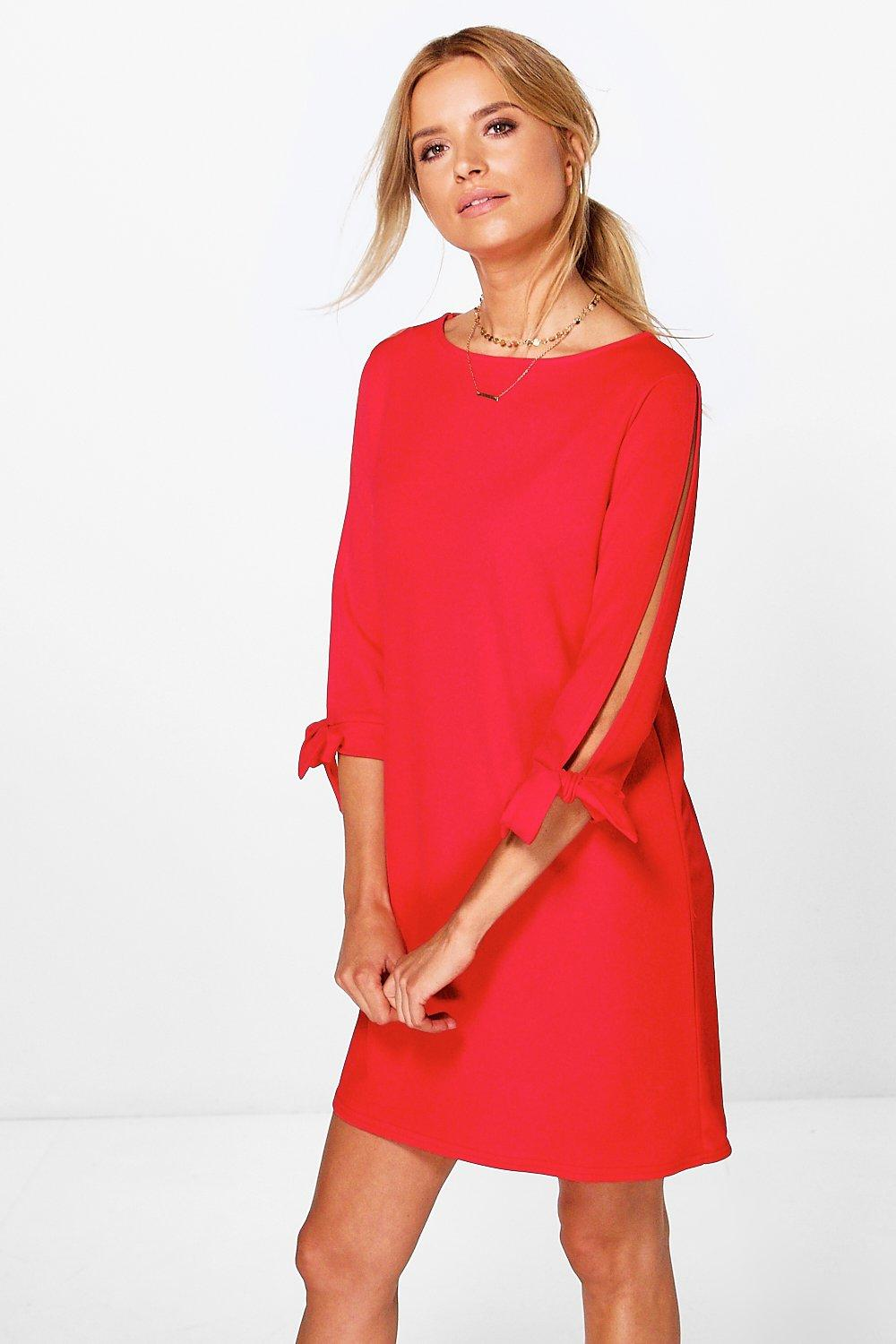 Roxy Tie Sleeve Long Sleeve Shift Dress