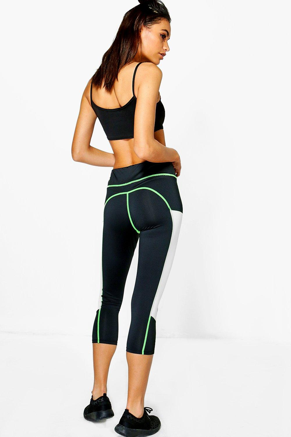 Rose Fit Mesh Insert Capri Running Legging green