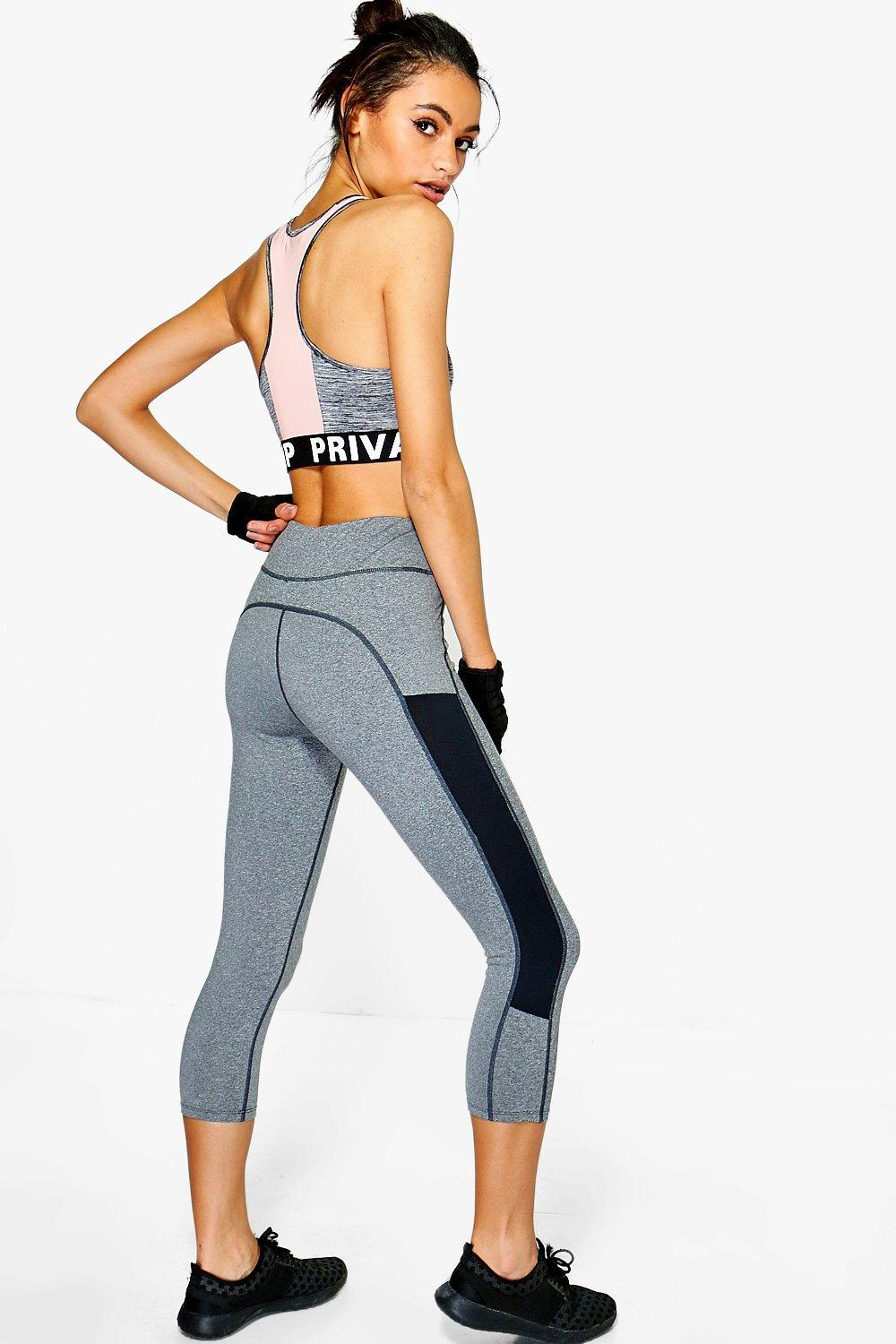 Lila Fit Mesh Insert Capri Running Legging grey