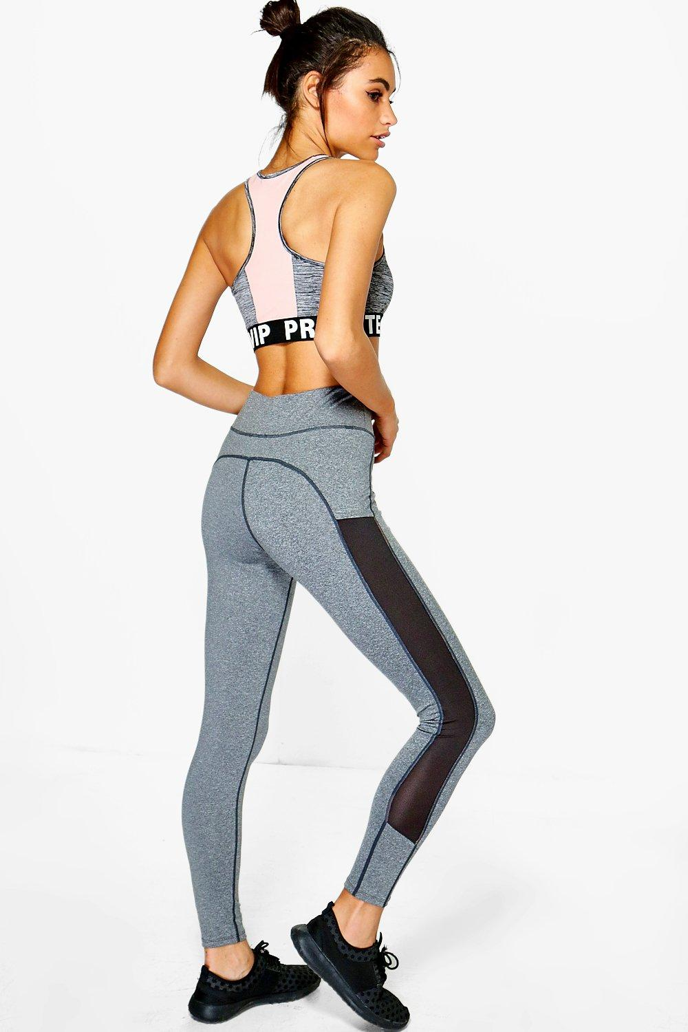 Mollie Fit Mesh Insert Running Legging grey
