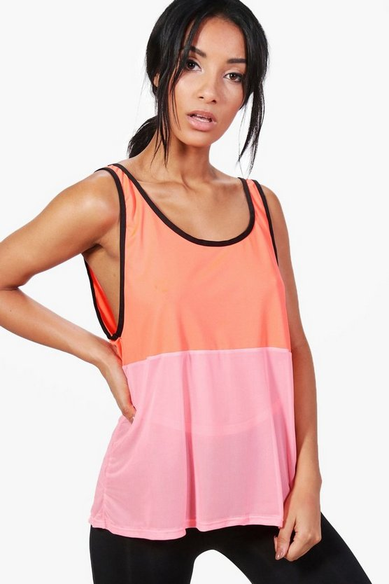 Poppy Fit Mesh Contrast Running Vest