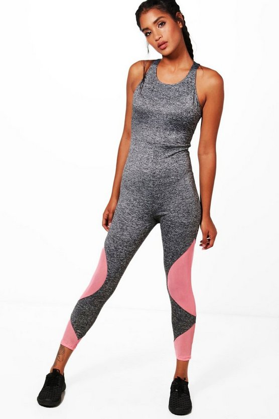 Fit Marie Strappy Mesh Insert Workout Jumpsuit