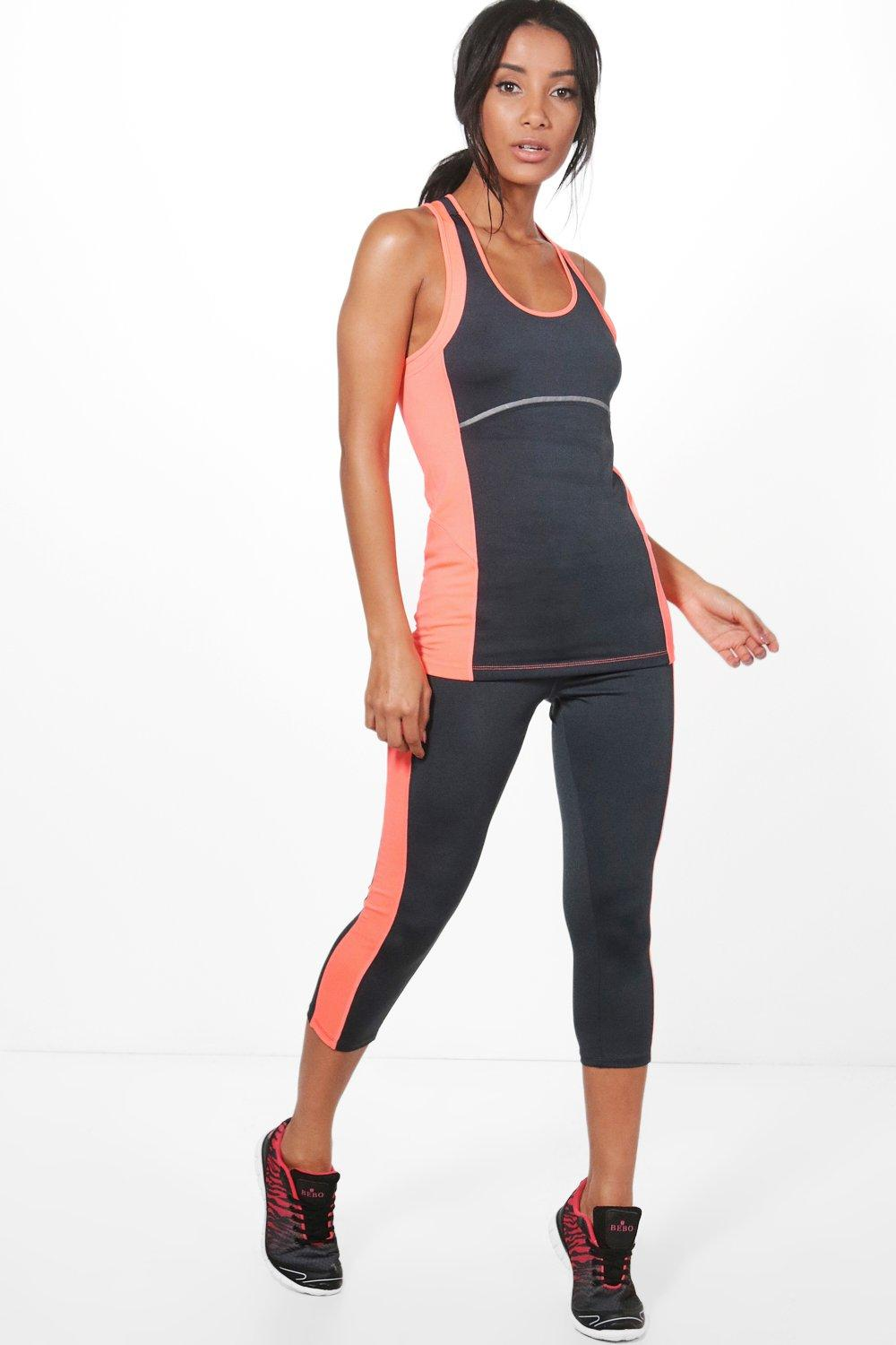 Bella Fit Colour Block Capri Running Leggings grey