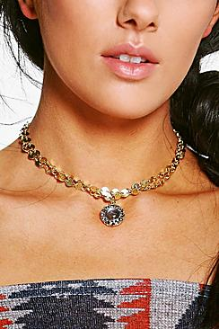 Keira Layered Disc Chain & Pendant Choker