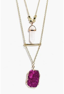 Heidi Crystal Pendant Layered Necklace
