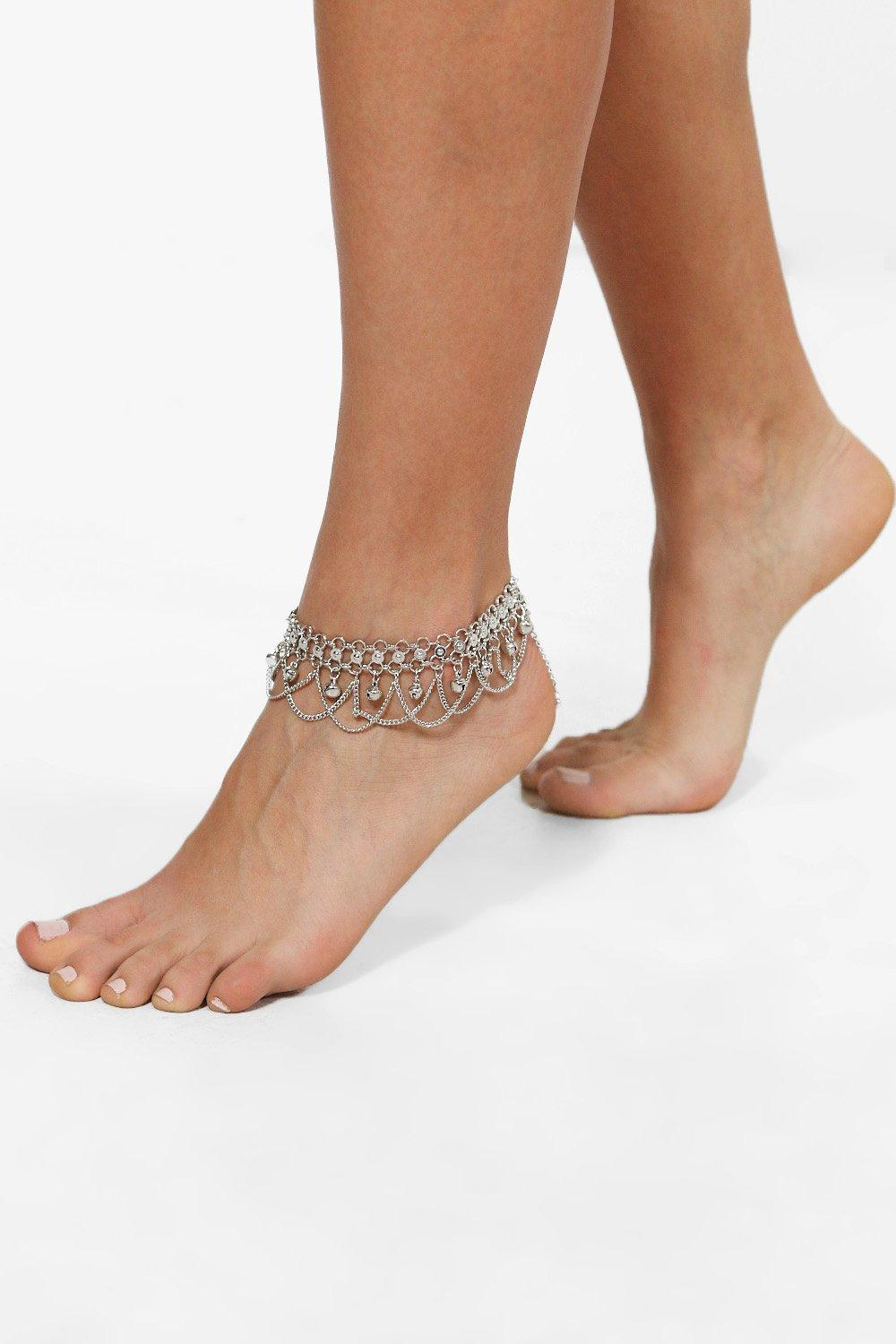 Boutique Chain & Bell Embellished Anklet  silver