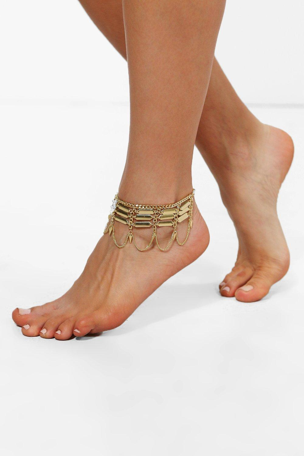 Boutique Layered Chain Detail Anklet  gold