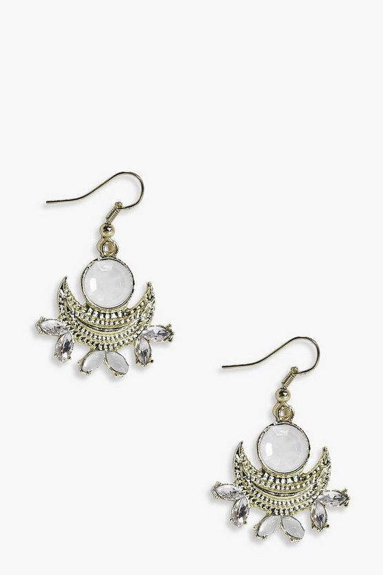 Macy Moon Stone & Diamante Bridal Earrings