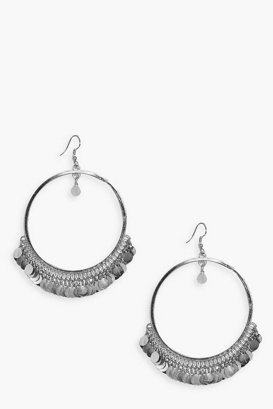 Arabella Coin Embellished Hoop Earrings