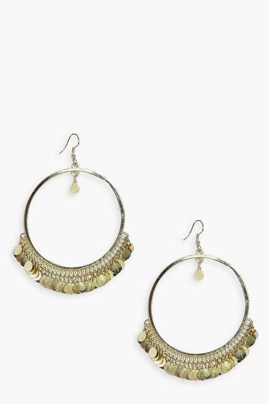 Nadia Shimmer Coin Embellish Hoop Earrings