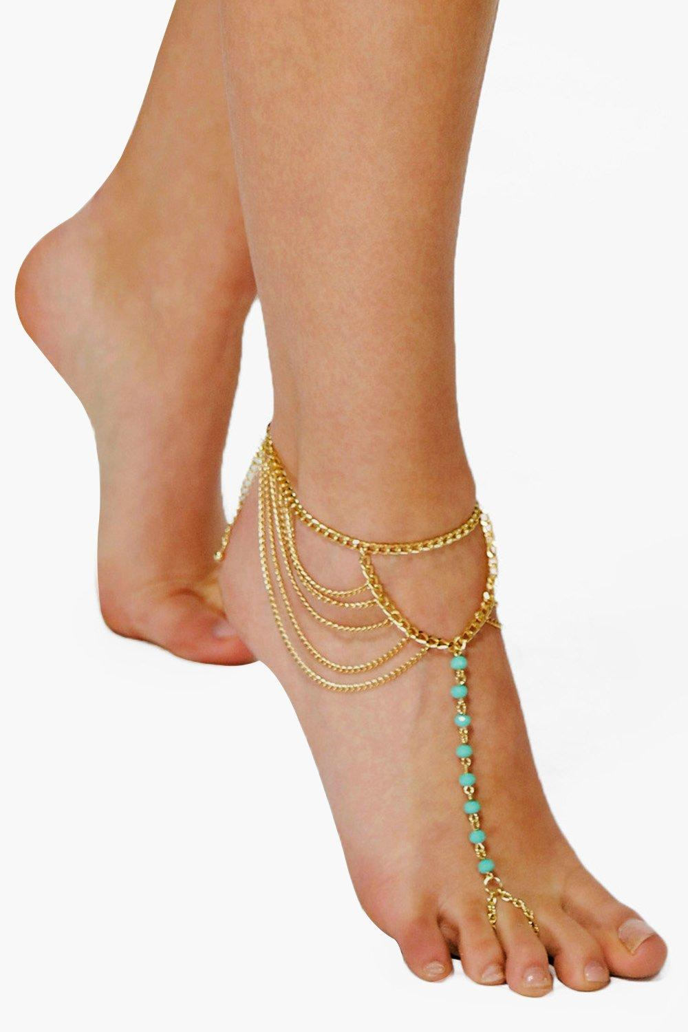 Turquoise Bead & Chain Anklet  gold