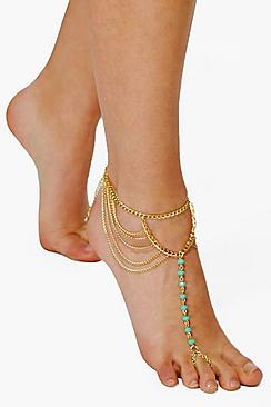 Honey Turquoise Bead & Chain Footlet Anklet