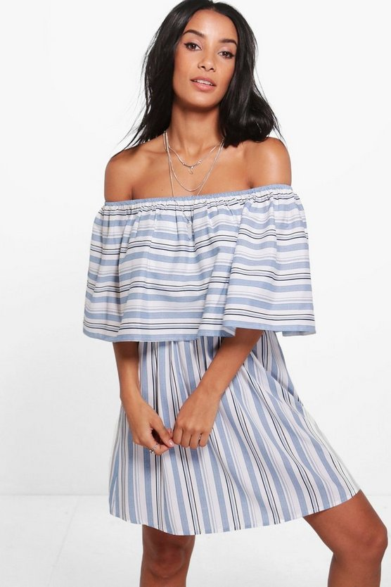 Suzanne Stripe Off Shoulder Sun Dress