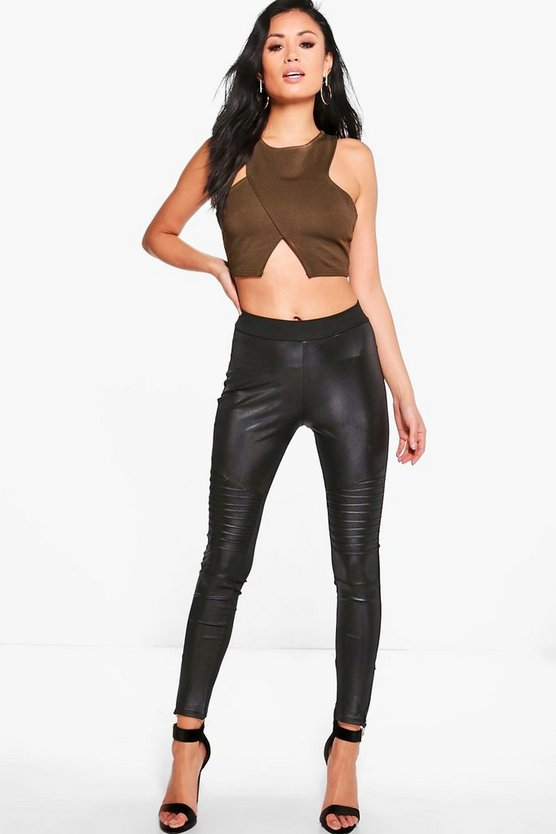 Fifi Biker Zip Ankle Wet Look Leggings