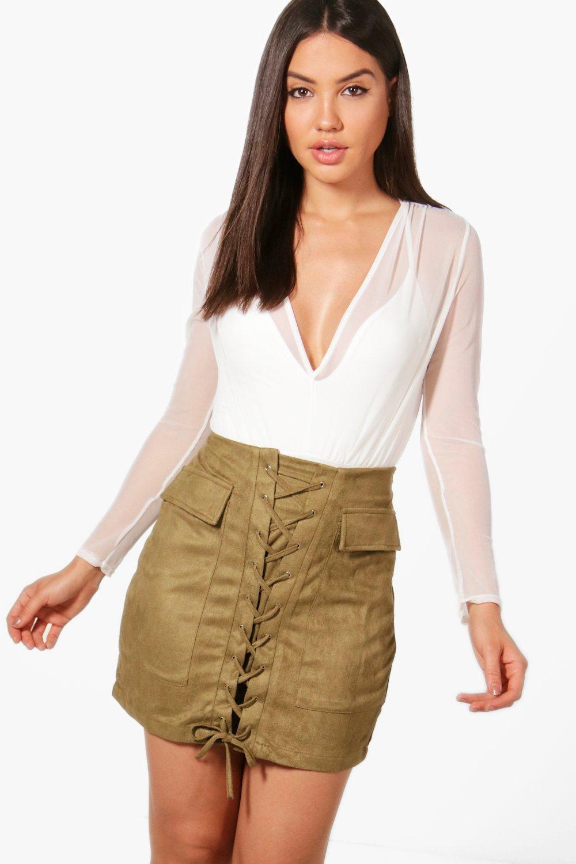 Lace Up Front Pocket Side Suedette Skirt  khaki
