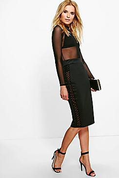 Amarah Grid Side Crepe Midi Skirt