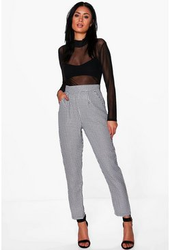 Arianna Dogtooth Check Slim Fit Woven Trousers