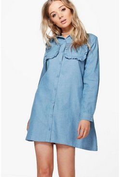 Ria Chambray Frill Pocket Oversized Shirt Dress