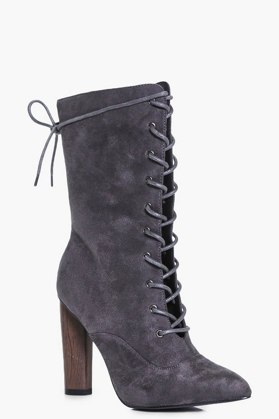 Abigail Lace Up Sock Boot