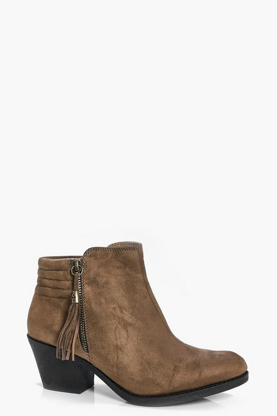 Natasha Fringe Trim Zip Side Ankle Boot