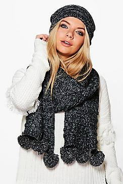 Nina Knitted Pom Pom Hat & Scarf Set