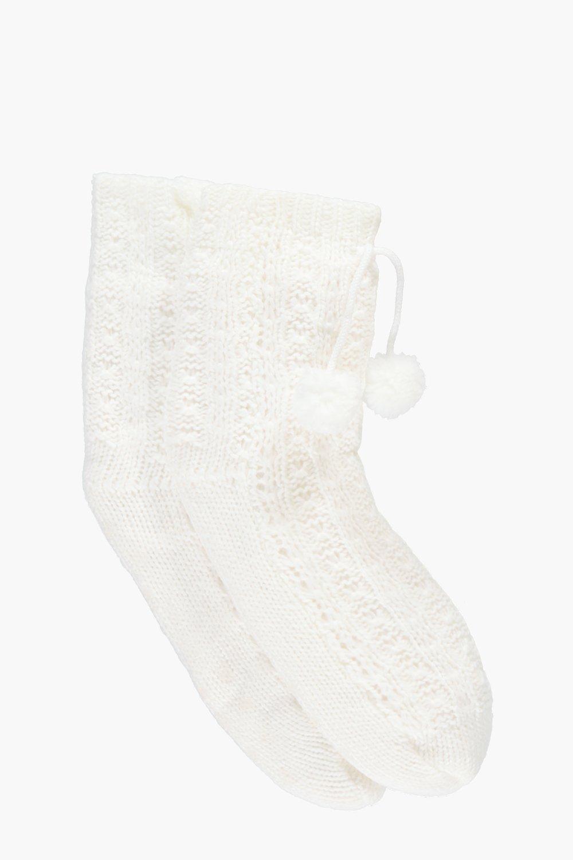Boohoo Womens Faye Chunky Cable Knit Slipper Socks | EBay