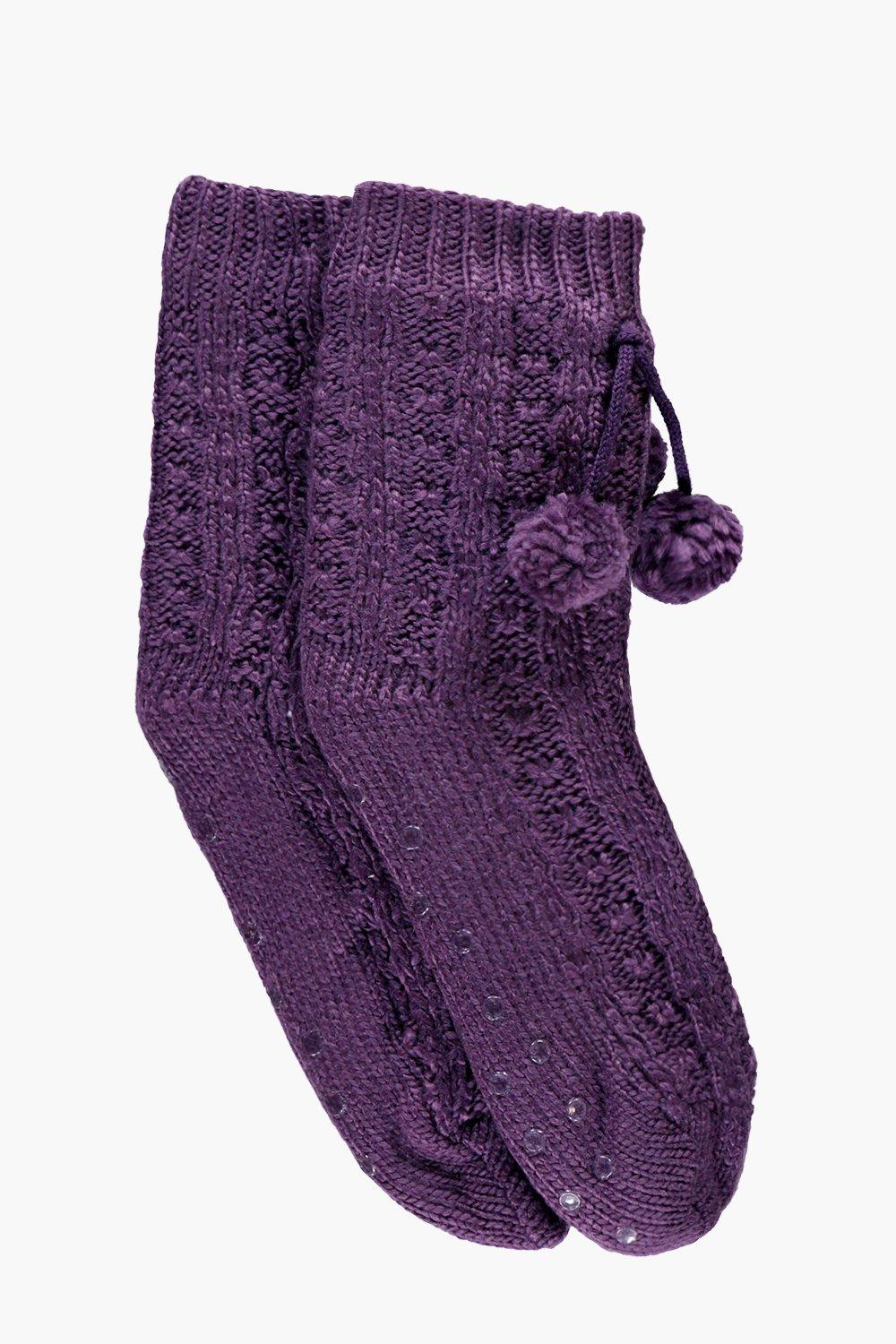 Faye Chunky Cable Knit Slipper Socks