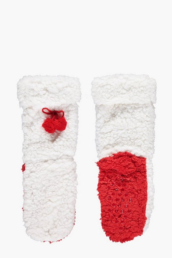 Frances Super Soft Pom Pom Fluffy Slipper Socks