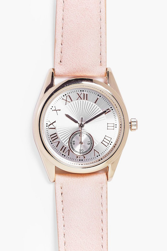 Isabel 2 Dial Roman Numeral PU Strap Watch