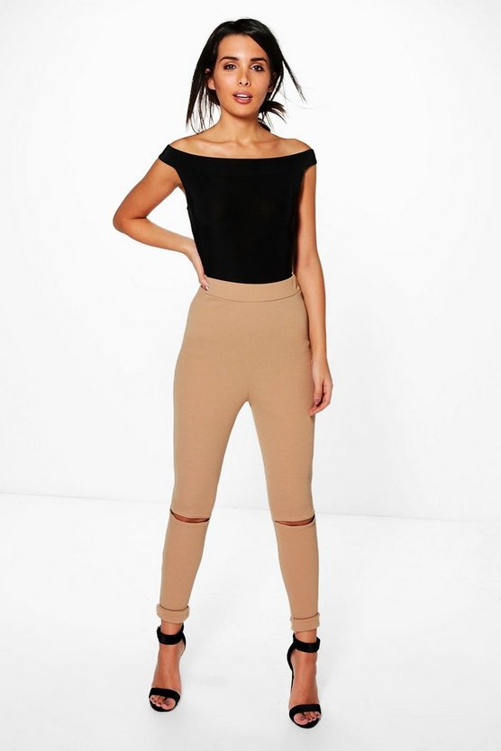 Tarah Crepe Highwaist Split Knee Leggings