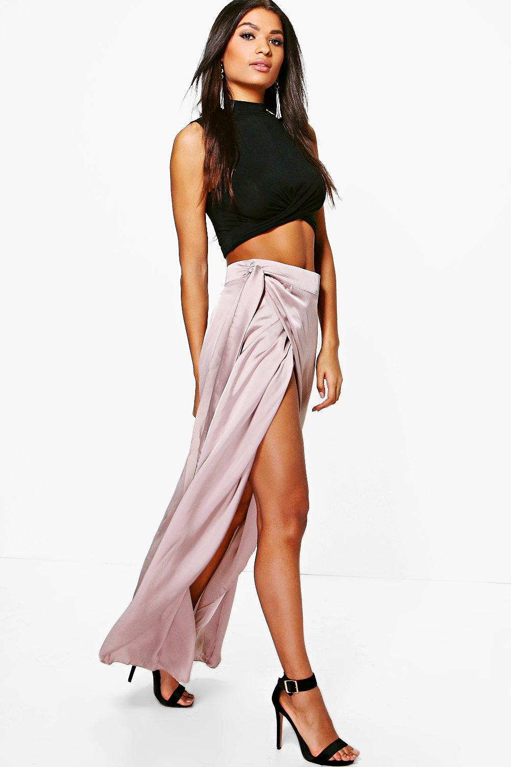 Wrap Front Dip Hem Satin Maxi Skirt - mink