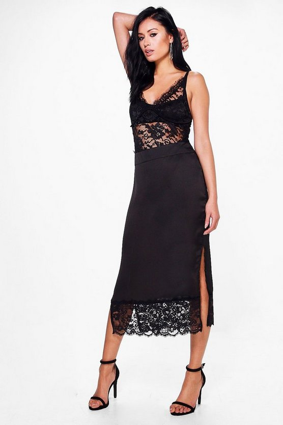 Niamh Lace Hem Satin Side Split Midi Skirt