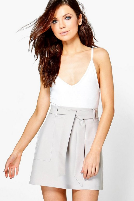 Pocket Front Belted Woven Skirt